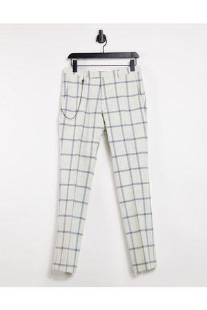 Twisted Tailor Pantaloni skinny con catena a quadri grandi, colore
