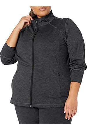 Amazon Plus Size Brushed Tech Stretch Full-Zip Jacket Pullover-Sweaters, Black Spacedye, 5X