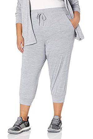 Amazon Plus Size Brushed Tech Stretch Crop Jogger Pants, Grey Spacedye, 3X