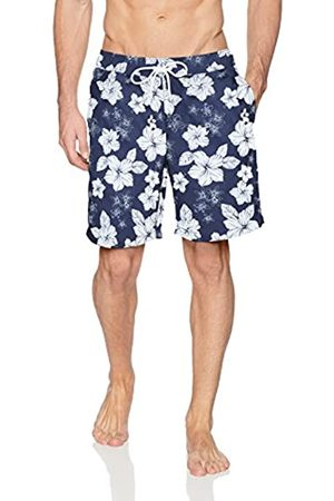 Amazon Trunk Fashion-Swim-Trunks, Navy Hibiscus Print, US S