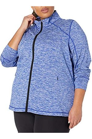 Amazon Plus Size Brushed Tech Stretch Full-Zip Jacket Pullover-Sweaters, Blue Spacedye, 3X