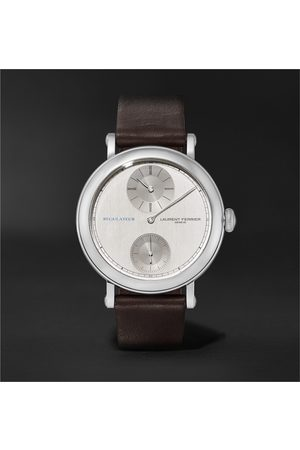 Laurent Ferrier Uomo Orologi - École Régulateur Automatic 40mm Stainless Steel and Leather Watch, Ref. No. LCF026.AC.GN1.1