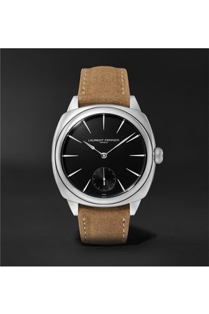 Laurent Ferrier Uomo Orologi - Square Automatic 41mm Stainless Steel and Alcantara Watch, Ref. No. LCF013.AC.N1G.1