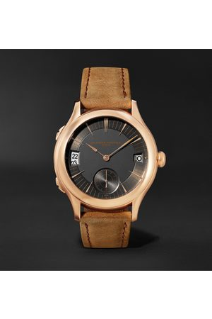 Laurent Ferrier Uomo Orologi - Traveller Automatic 41mm 18-Karat Red Gold and Leather Watch, Ref. No. LCF007.R5.AR1.1