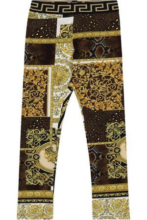 VERSACE Leggings a stampa Barocco Mosaic in cotone