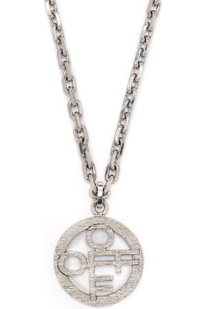 Off-White Textured-logo pendant necklace