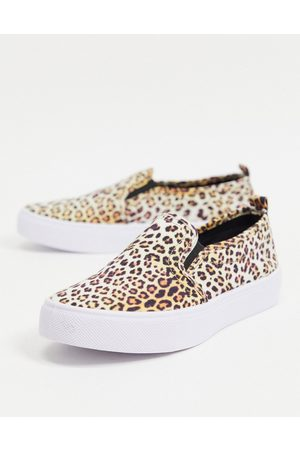ASOS Donna Stringate e mocassini - Dotty - Scarpe di tela senza lacci leopardate