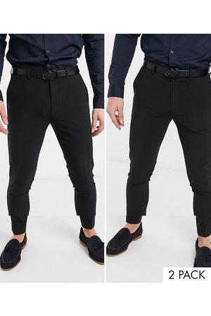 ASOS Confezione da 2 pantaloni super skinny neri - RISPARMIA