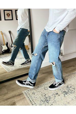 ASOS Jeans dritti corti lavaggio vintage chiaro con strappi sulle ginocchia