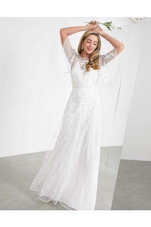 ASOS Annie - Vestito da sposa ricamato a fiori con maniche a volant