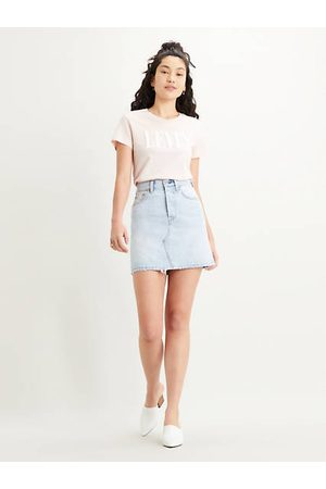 Levi's High Waisted Deconstructed Skirt Light Indigo / Check Ya Later