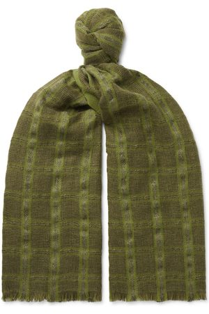 Loro Piana Uomo Sciarpe - Checked Linen and Cashmere-Blend Tweed Scarf
