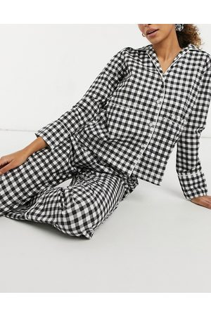 Daisy Street Pigiama a quadretti con top a maniche lunghe, pantaloni ed elastico per capelli