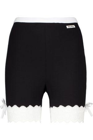 Miu Miu Shorts in jersey stretch con pizzo