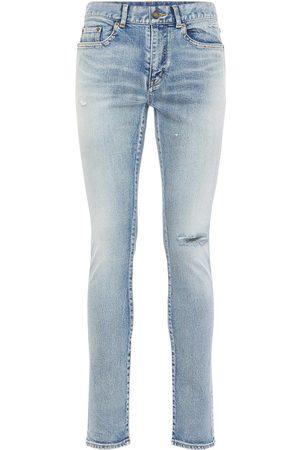 Saint Laurent Jeans Skinny Vita Bassa In Denim Di Cotone 15cm