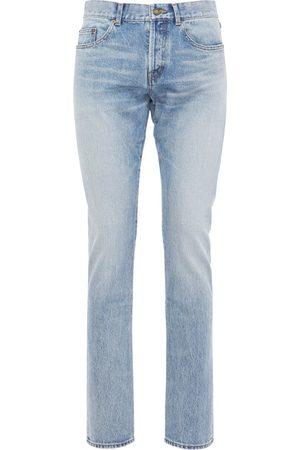 Saint Laurent Jeans Slim Fit In Denim Di Cotone Con Logo 17cm