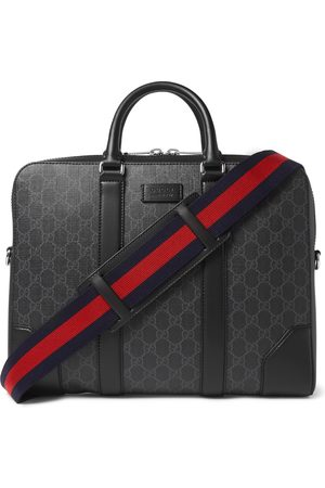 Gucci Uomo Valigette e porta PC - Leather-Trimmed Monogrammed Coated-Canvas Briefcase