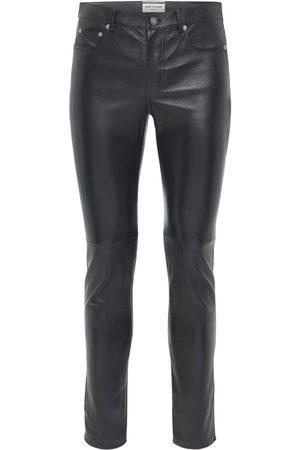 Saint Laurent Pantaloni Skinny In Pelle 15.5cm