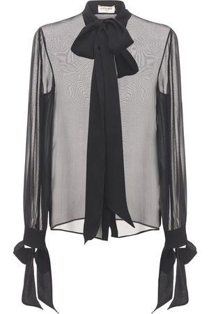 Saint Laurent Camicia In Mussola Di Seta Con Fiocco