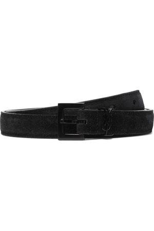 Saint Laurent Uomo Cinture - 2cm Logo-Embellished Suede Belt