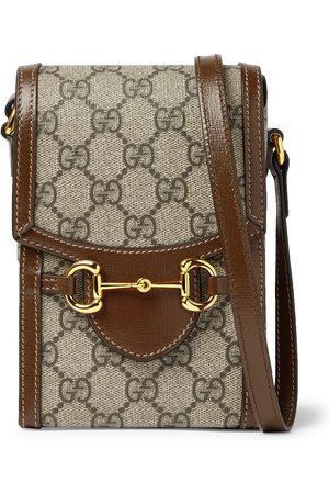 GUCCI Uomo Portafogli e portamonete - Horsebit Leather-Trimmed Monogrammed Coated-Canvas Pouch