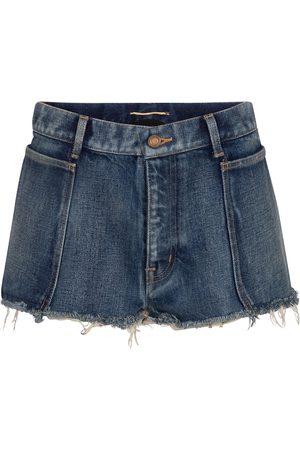 Saint Laurent Shorts di jeans a vita bassa