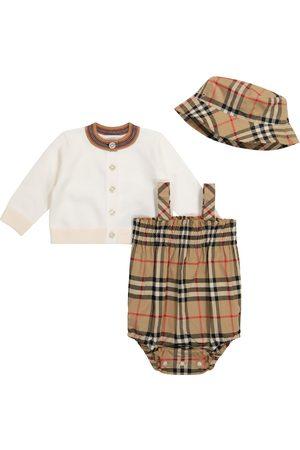 Burberry Baby - Pagliaccetto, cardigan e cappello in cotone