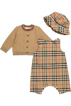 Burberry Neonati Pagliaccetti - Baby - Pagliaccetto, cardigan e cappello in cotone