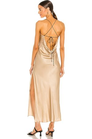 Weekend Stories Gabrielle Midi Dress in - Metallic Gold. Size L (also in M, S, XL, XS, XXS).