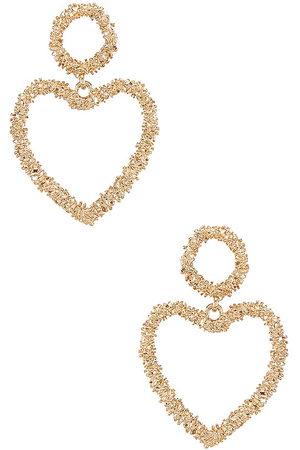Ettika Heart Drop Earrings in - Metallic . Size all.