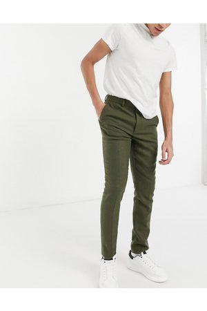 ASOS DESIGN Pantaloni da abito skinny in twill di misto lana kaki