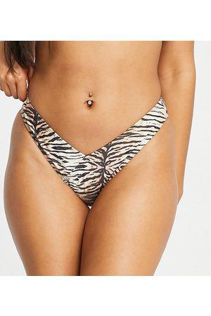 South Beach Mix and Match - Slip bikini sgambato a V con stampa tigrata