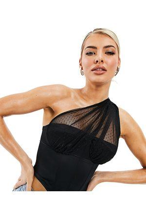 AsYou Top a corsetto monospalla in rete