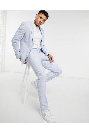 ASOS DESIGN Wedding - Pantaloni da abito skinny azzurro pastello tratteggiato