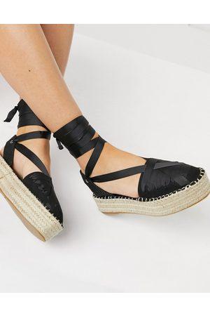 ASOS DESIGN Junior - Espadrilles flatform nere allacciate alla caviglia