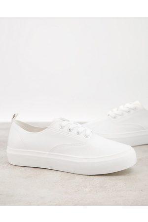 London Rebel Sneakers flatform stringate bianche