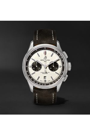 Breitling Uomo Orologi - Premier B01 Automatic Chronograph 42mm Stainless Steel and Nubuck Watch, Ref. No. AB0118221G1X1