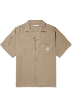 Desmond & Dempsey Uomo Pigiami - Camp-Collar Linen Pyjama Shirt
