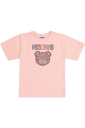 Moschino T-shirt in cotone stretch con strass