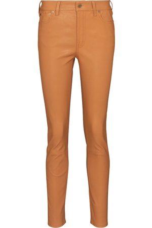 Polo Ralph Lauren Donna Di pelle - Pantaloni a vita alta in pelle