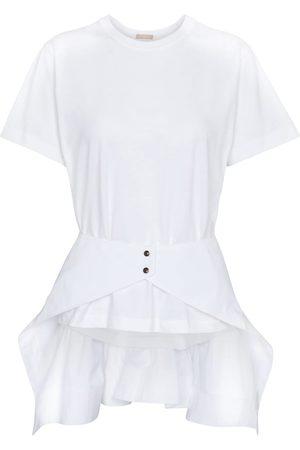 Alaïa T-shirt in cotone con peplum