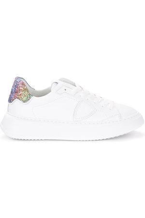 Philippe Model Sneaker Temple in pelle bianca e glitter
