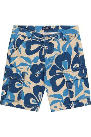 Il gufo Shorts a stampa floreale in cotone e lino