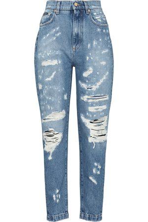 Dolce & Gabbana Jeans slim a vita alta distressed