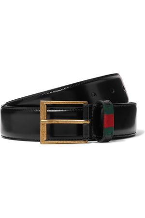 GUCCI Uomo Cinture - 3.5cm Webbing-Trimmed Polished-Leather Belt