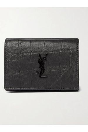 adidas Logo-Appliquéd Croc-Effect Leather Trifold Wallet