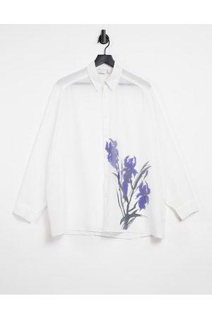ASOS Camicia super oversize trasparente con stampa con fiori, colore