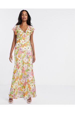 ASOS Strawberry Fields - Vestito lungo asimmetrico morbido con volant a fiori vintage