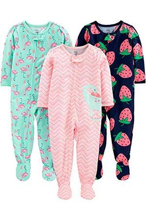 Simple Joys by Carter's Pigiama per neonata e bambina, in jersey di poliestere, con piede, confezione da 3 ,Dino/Strawberry/Flamingo ,12 Months