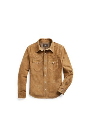 RRL Uomo Giacche di pelle - Giacca a camicia western in camoscio
